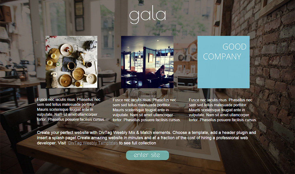 Weebly Splash Page - Gala