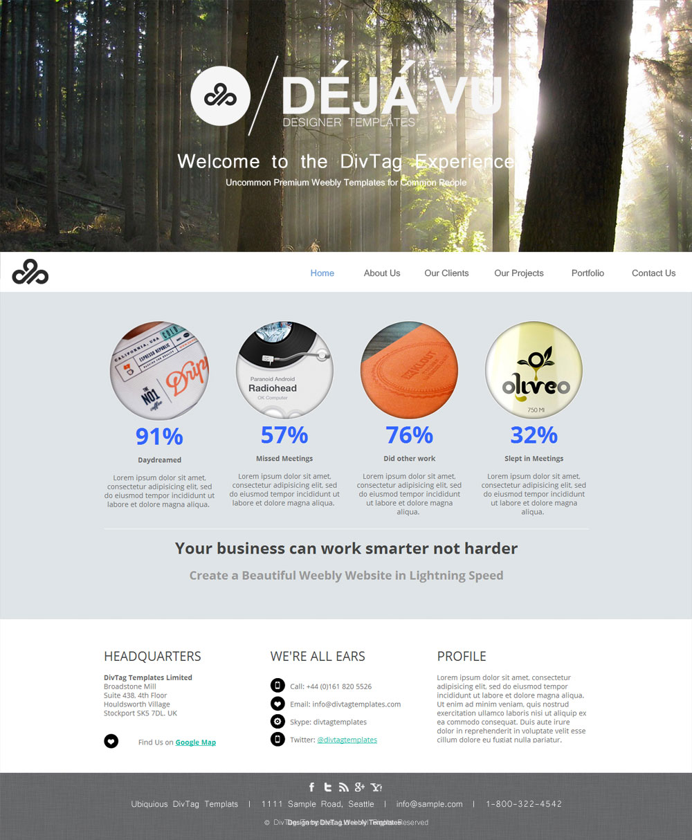 Weebly Templates & Weebly Themes - Déjà Vu Theme