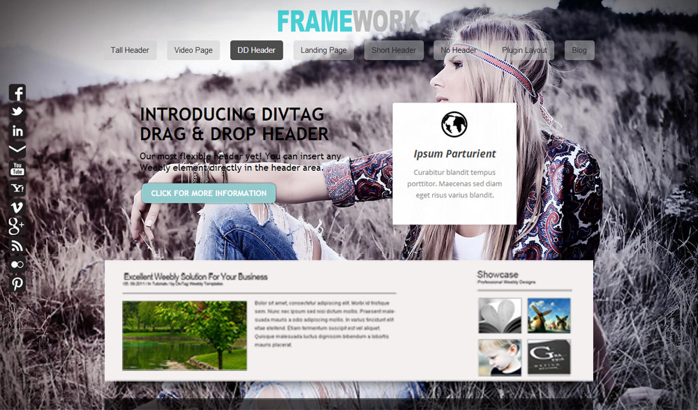 Framework Dd Header Premium Weebly Templates And Weebly