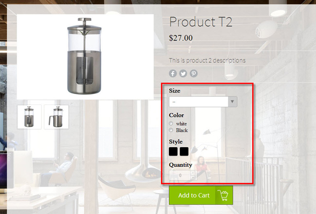 Weebly eCommerce - Product Variation