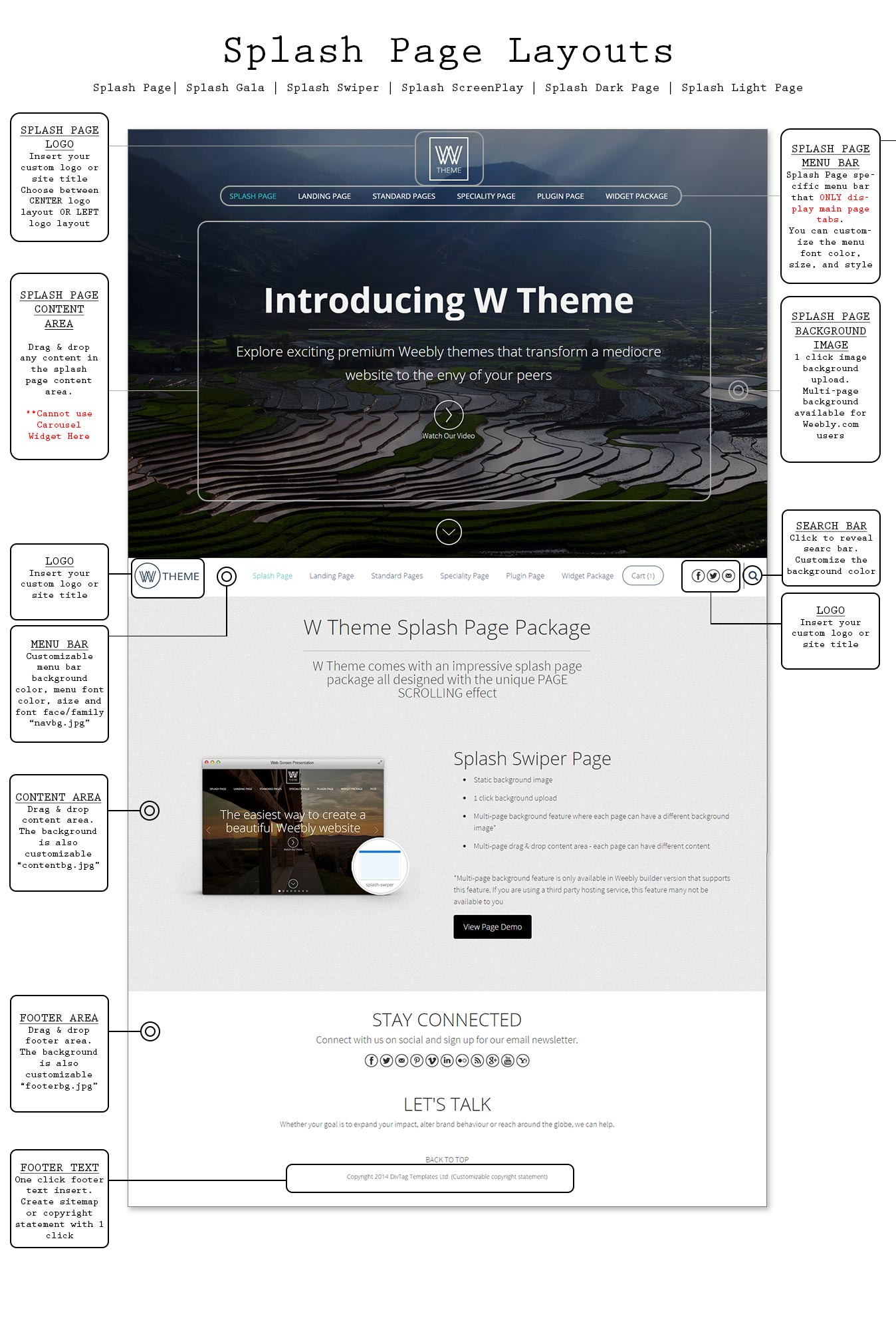 W theme premium weebly templates and weebly themes for Wordpress splash page template
