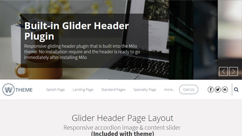 Glider Header Page Layout